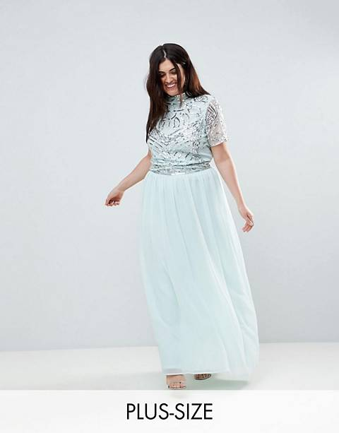 Frock And Frill Plus Premium Embellished Top Maxi Dress