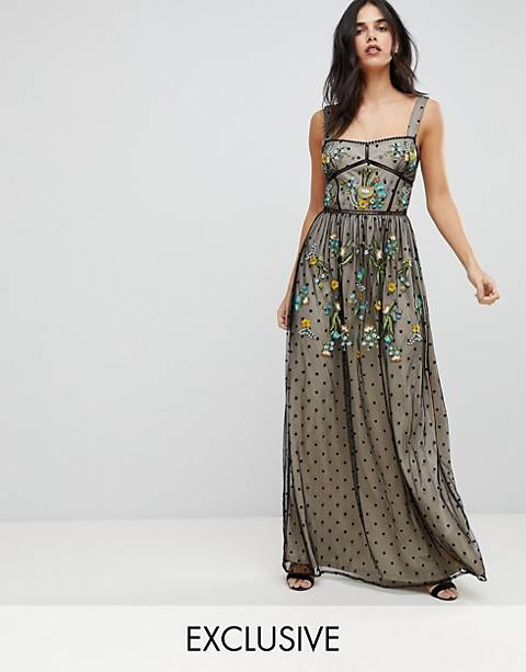 Frock And Frill Premium Folk Embroidered Structured Strap Maxi Dress