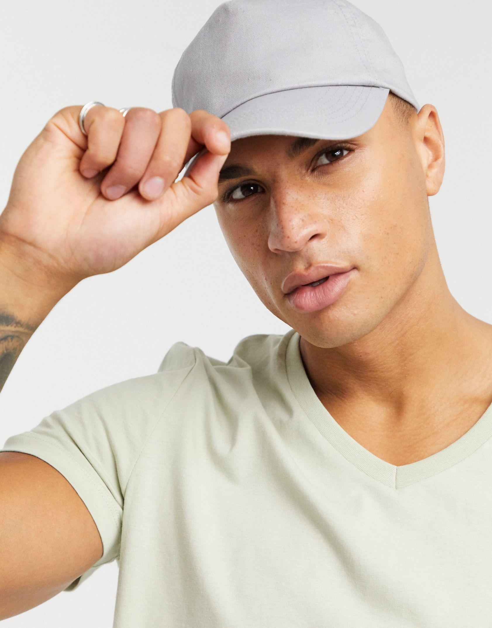 ASOS DESIGN t-shirt with v neck in beige - ASOS Price Checker