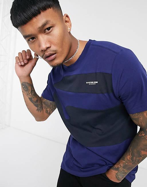 G-Star – Blå, panelsydd t-shirt