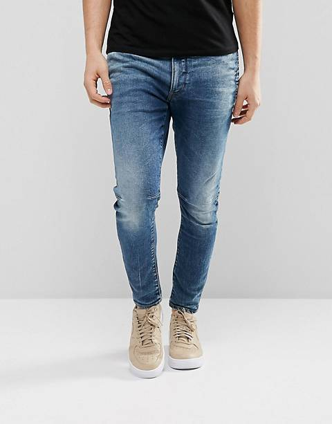G-Star – D-Staq 3D – Superenge Jeans in Medium Aged