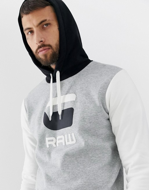 Image 1 of G-Star Graphic logo hooded sweat in gray