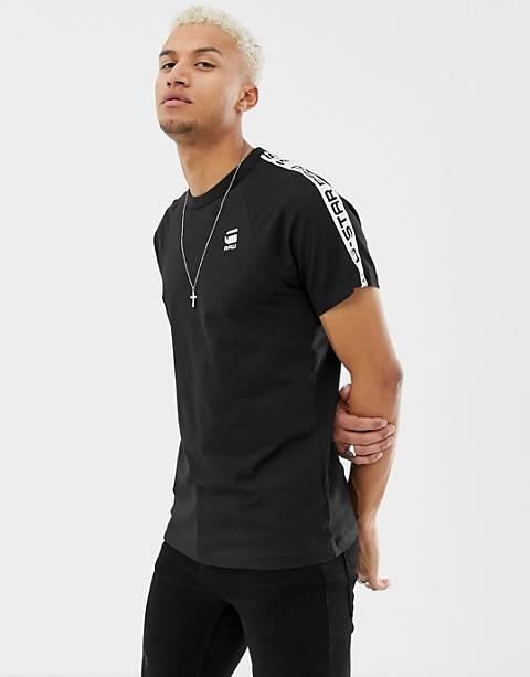 G-Star - Satur - T-Shirt mit Raglanärmeln und Zierstreifen in Schwarz, exklusiv bei ASOS