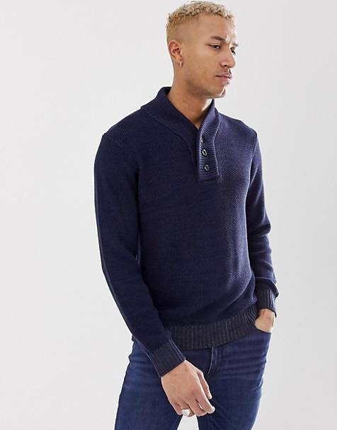 G-Star Tain shawl neck knitted sweater in navy