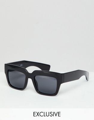 Gafas de sol con montura cuadrada en negro de Monki