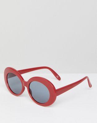 Gafas de sol con montura ovalada en rojo de ASOS