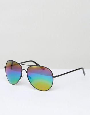 Gafas de sol estilo aviador con diseño de arcoíris de New Look
