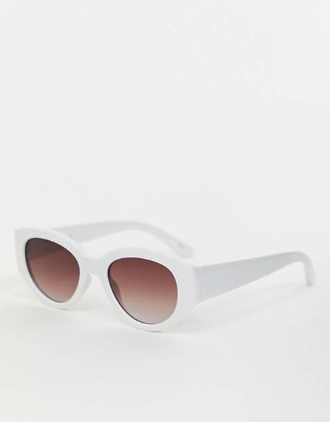 36404b7a9c Gafas de sol ovaladas en blanco de ASOS DESIGN