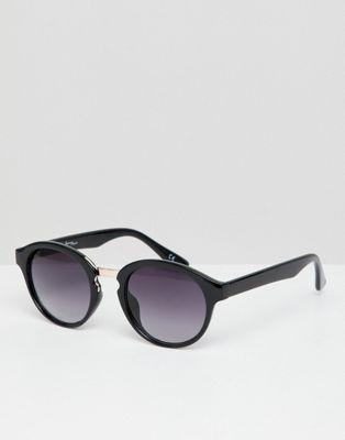Gafas de sol redondas en negro con lentes degradadas de Jeepers Peepers
