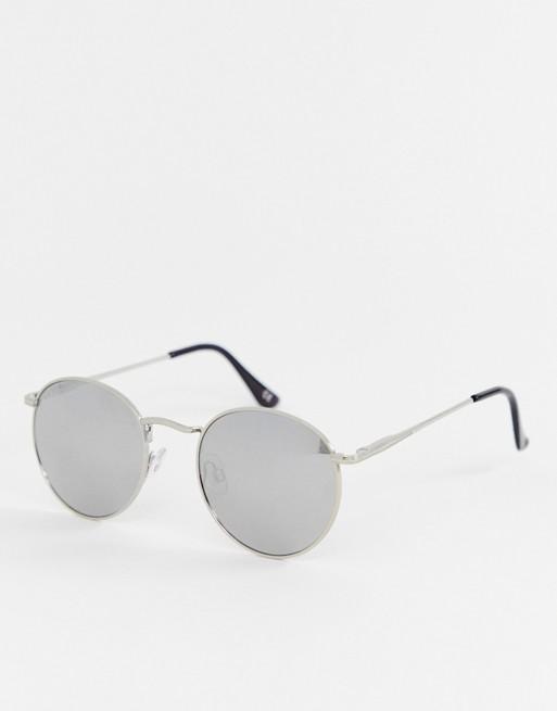 Imagen 1 de Gafas de sol redondas en plateado con lentes de espejo plateadas de ASOS DESIGN