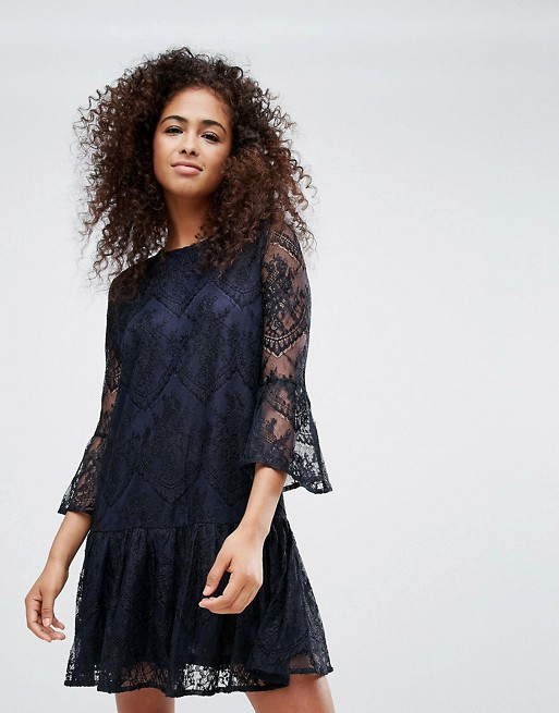 Image 1 of Ganni Larkin Lace Dropped Hem Dress