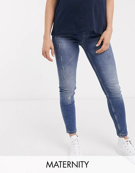 GeBe Maternity over-the-bump skinny jeans in light wash blue