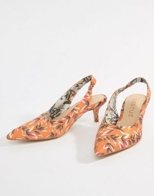 Gestuz Orange Printed Heeled Sandals