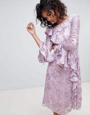 Ghost long sleeve printed midi dress