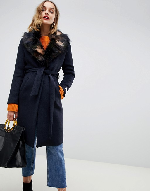 Gianni Feraud duster coat with faux fur collar