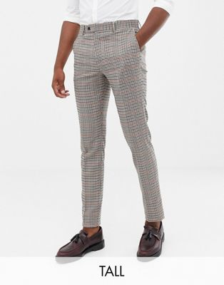 Image 1 of Gianni Feraud Tall slim fit heritage check wool blend suit pants