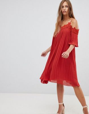 Image 1 of Gilli cold shoulder pleated midi dress with crochet trim