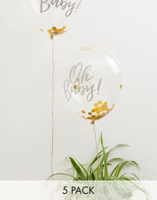 Ginger Ray - Oh Baby! - Baby-shower 12 tum konfettiballonger