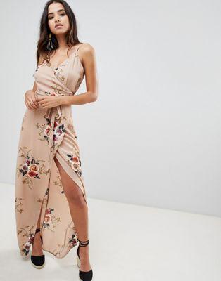 Girl in Mind lange jurk met overslag voor en bloemenprint