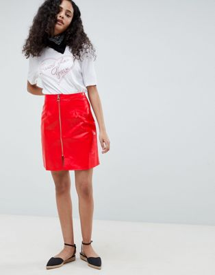 Glamorous A Line Vinyl Skirt With Zip Front