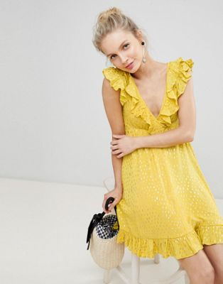 Afbeelding 1 van Glamorous - Aangerimpelde mini-jurk met ruches en metallic vlekjes