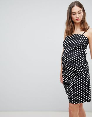 Glamorous Bloom Cami Dress With Tie Back In Polka Dot