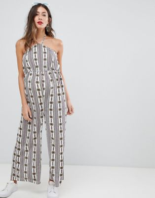 Glamorous Bloom Maternity printed halterneck jumpsuit