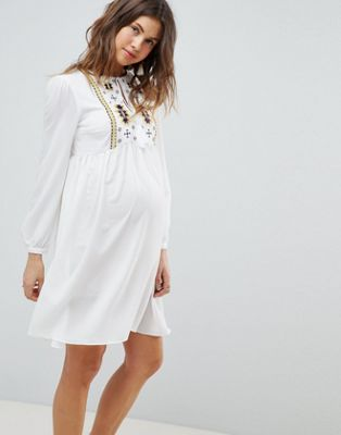 Glamorous Bloom Smock Dress With Tassle Ties And Embroidery
