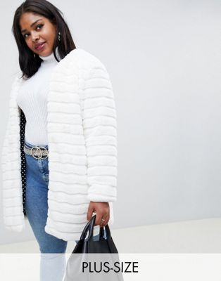 Glamorous Curve coat in paneled faux fur