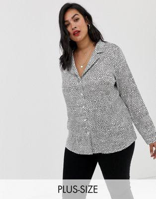 Glamorous Curve crop blouse in mini spot satin