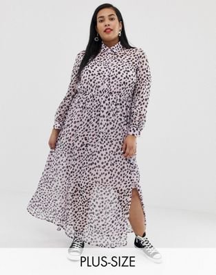 Glamorous Curve maxi shirt dress in dalmatian print