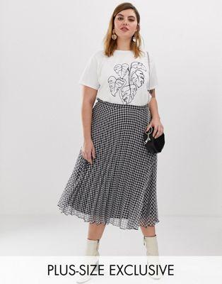 Glamorous Curve midi skirt in pleated gingham