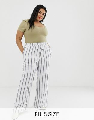 Image 1 of Glamorous curve relaxed pants in painted stripe