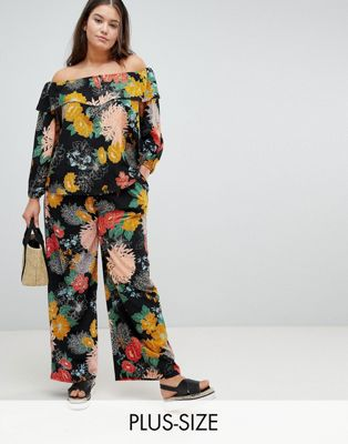 Glamorous Curve Relaxed Trousers In Bold Floral