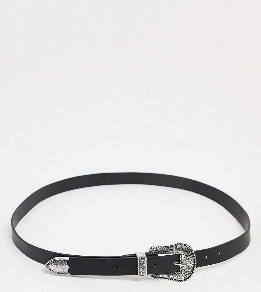 glamorous curve -  – Taillen- und Hüft-Jeansgürtel mit Westernschnalle in Schwarz
