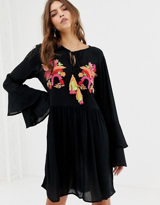 Image 1 of Glamorous embroidered smock dress