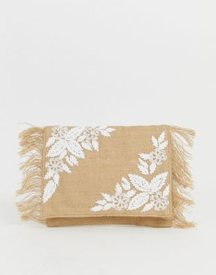 Glamorous embroidered straw clutch