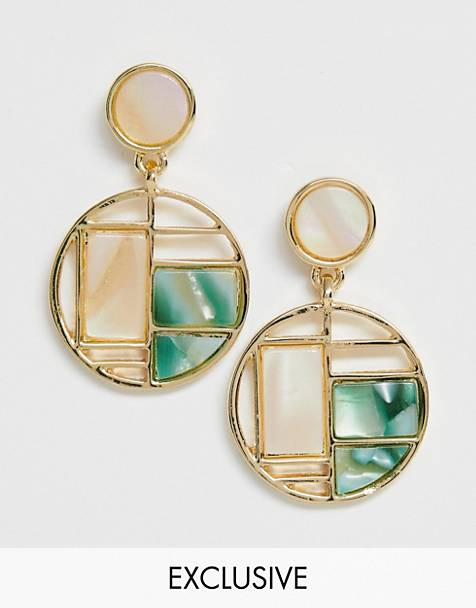 Glamorous Exclusive enamel color block drop earrings