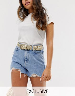 Glamorous Exclusive gold woven waist and hip jeans belt