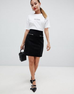 Glamorous faux suede zip detail mini skirt
