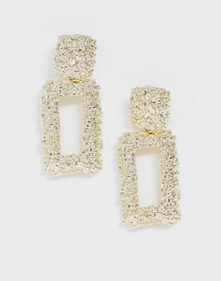 Image 1 of Glamorous gold sqaure drop earrings