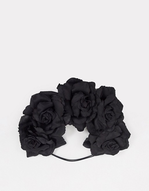 Glamorous Halloween floral hair garland in black