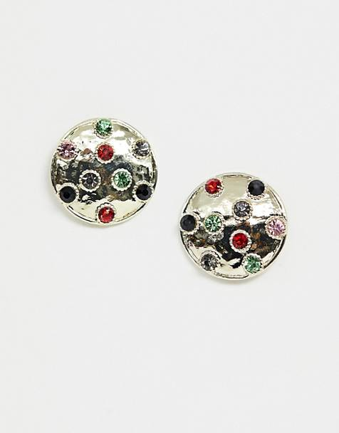 Glamorous hammered gold disc earrings with multi colored gems