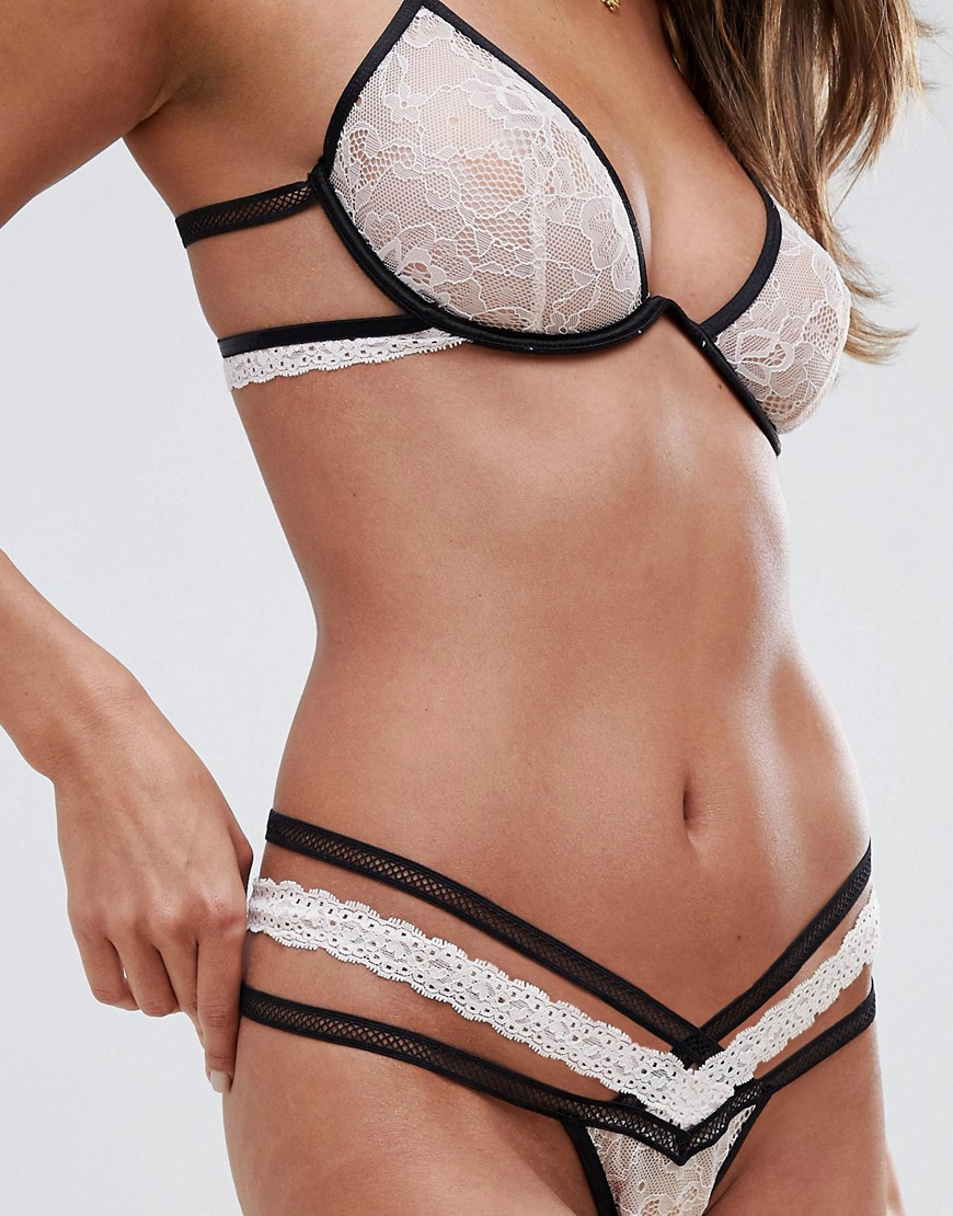 Glamorous Exposed Underwire Lace And Piping Detail Bra & Thong Set by Asos Brand