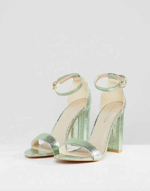 dfd90f359df Glamorous Metallic Green Barely There Block Heeled Sandals