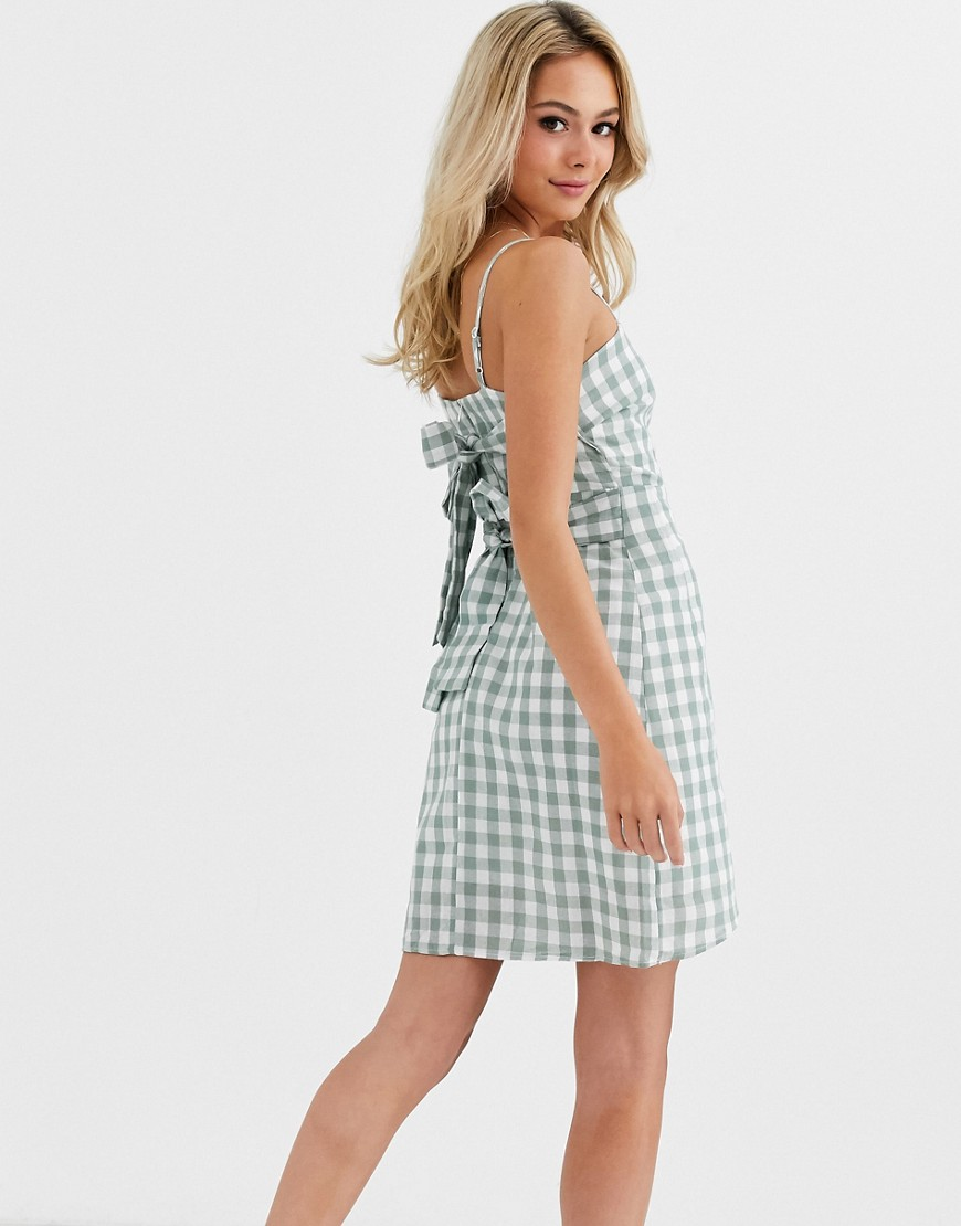 glamorous mini dress with tie details in gingham-multi