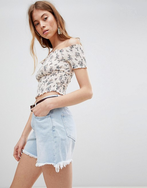 Glamorous Off Shoulder Crop Top With Shirring In Floral