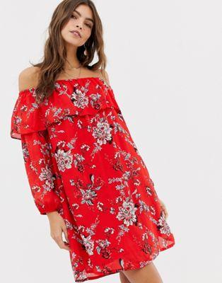 Image 1 of Glamorous off shoulder floral print dress