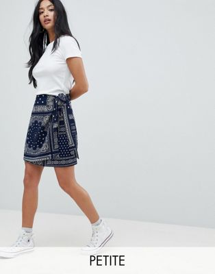Glamorous Petite Mini Skirt In Bandana Print With Tie Detail