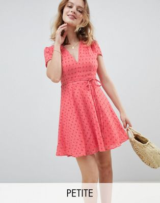 Glamorous Petite Mini Tea Dress With Tie Waist In Ditsy Rose